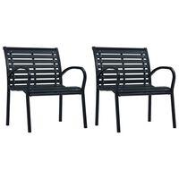 vidaXL Cadeiras de jardim 2 pcs aço e WPC preto