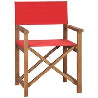 vidaXL Cadeira de realizador em madeira de teca maciça vermelho
