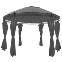 vidaXL Gazebo com cortinas redondo 3,5x2,7 m antracite