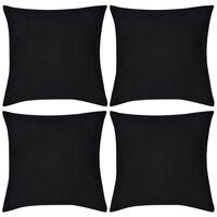 Capas de almofada algodão 4 pcs 40 x 40 cm preto