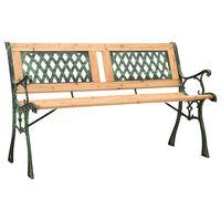 vidaXL Banco de jardim 122 cm ferro fundido e madeira de abeto maciça