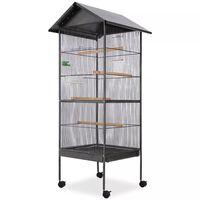vidaXL Gaiola para pássaros com telhado de aço 66x66x155 cm preto