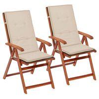vidaXL Almofadões para cadeiras de jardim 2 pcs 120x50x4 cm creme