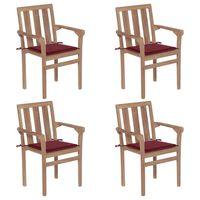 vidaXL Cadeiras de jardim empilháveis c/ almofadões 4 pcs teca maciça