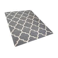 Tapete cinza de pelos curtos - Feito à mão - Algodão e lã - 160x230 cm
