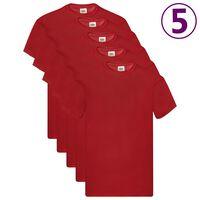 Fruit of the Loom T-shirts originais 5 pcs algodão XXL vermelho