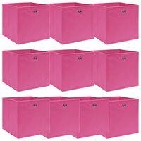 vidaXL Caixas de arrumação 10 pcs 32x32x32 cm tecido rosa