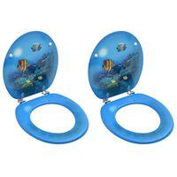 vidaXL Assentos sanita com tampas 2 pcs MDF design mar profundo