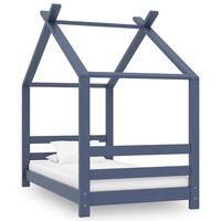 vidaXL Estrutura de cama para crianças 70x140 cm pinho maciço cinzento