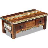 vidaXL Mesa de centro + gavetas 90x45x35 cm madeira reciclada maciça