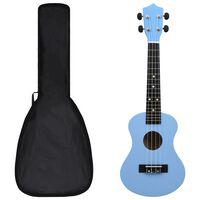 """vidaXL Conjunto ukulele soprano infantil com saco 23"""" azul-bebé"""