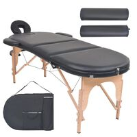 vidaXL Mesa de massagem dobrável c/ 2 rolos 4 cm espessura oval preto