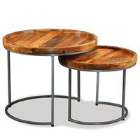 vidaXL Mesa de apoio 2 pcs madeira de mangueira maciça