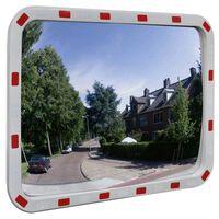 Convex Espelho de trânsito retangular 60 x 80 cm com refletores