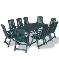 vidaXL Conjunto de jantar para exterior 11 pcs plástico verde