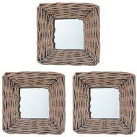 vidaXL Espelhos 3 pcs 15x15 cm vime