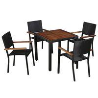 vidaXL 5 pcs conjunto jantar exterior vime PE e madeira acácia preto