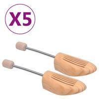 vidaXL Alargador de calçado 5 pares tam. 36-37 madeira de pinho maciça