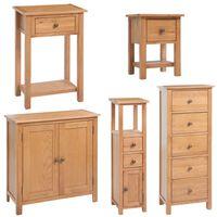 vidaXL Conjunto de móveis de sala 5 pcs madeira de carvalho maciço