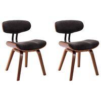 vidaXL Cadeiras jantar 2 pcs madeira curvada e tecido cinzento