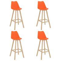 vidaXL Bar Stools 4 pcs Orange PP and Solid Beech Wood (2x289174)