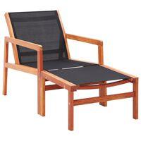 vidaXL Cadeira de jardim c/ apoio pés eucalipto maciço/textilene preto
