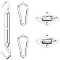 vidaXL Kit de montagem p/ para-sol estilo vela 5 pcs aço inoxidável