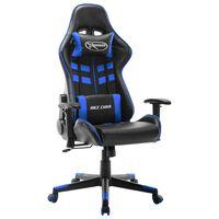 vidaXL Cadeira de gaming couro artificial preto e azul