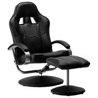 vidaXL Cadeira estilo corrida c/ apoio de pés couro artificial preto
