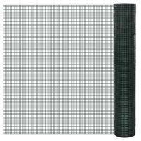 vidaXL Cerca arame galinheiro 25x1 m aço c/ revestimento PVC verde