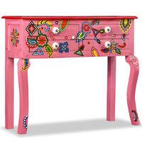 vidaXL Mesa consola madeira mangueira maciça rosa pintada à mão