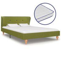 vidaXL Cama c/ colchão espuma de memória 120x200cm tecido verde