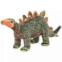 vidaXL Brinquedo de montar estegossauro peluche verde e laranja XXL
