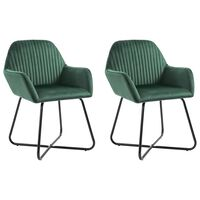 vidaXL Cadeiras de jantar 2 pcs veludo verde