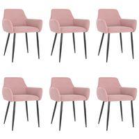 vidaXL Cadeiras de jantar 6 pcs veludo rosa