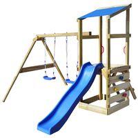 vidaXL Casa brincar + escada escorrega baloiços 290x260x235cm madeira