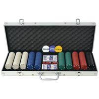 vidaXL Conjunto de póquer com 500 fichas, alumínio