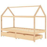 vidaXL Estrutura de cama p/ crianças c/ gavetas 90x200 cm pinho maciço